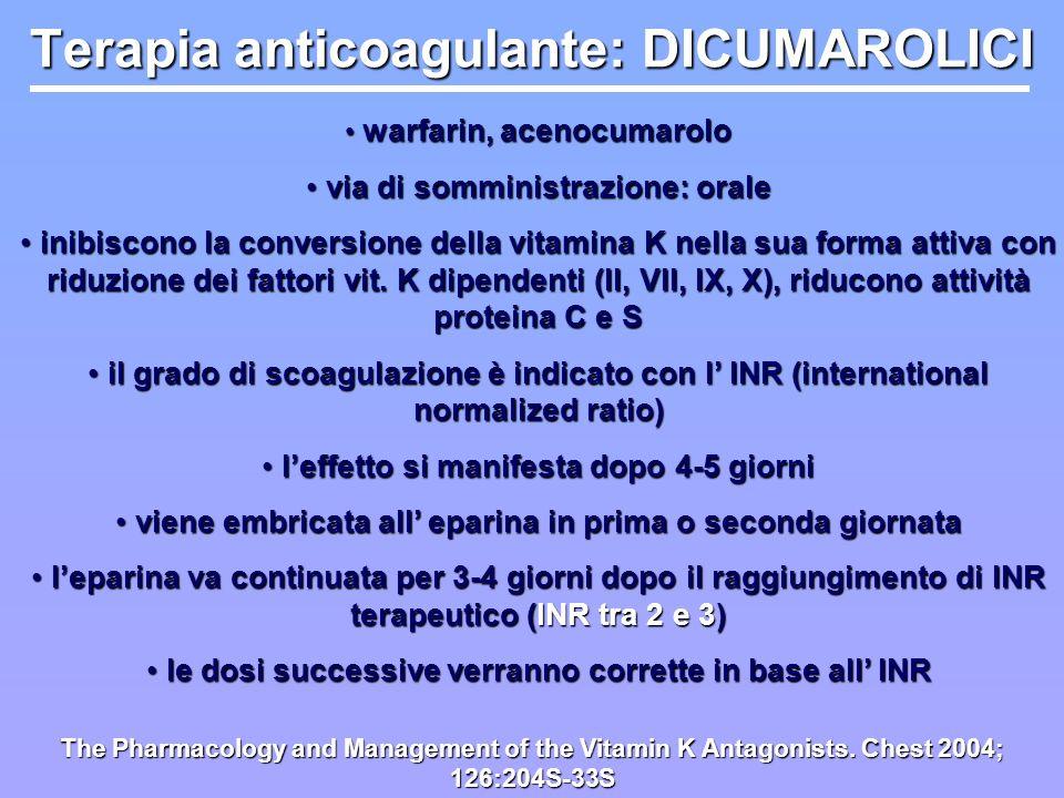 Terapia anticoagulante: DICUMAROLICI warfarin, acenocumarolo warfarin, acenocumarolo via di somministrazione: orale via di somministrazione: orale ini