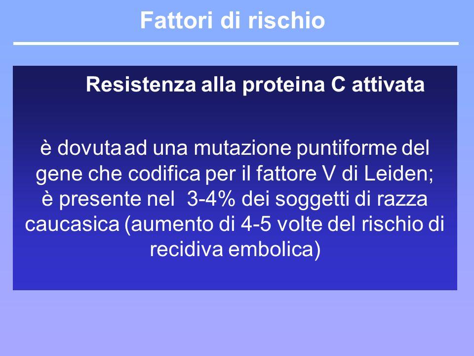 Fattori di rischio Primitivi resistenza alla proteina C attivata Secondari Resistenza alla proteina C attivata è dovuta ad una mutazione puntiforme de