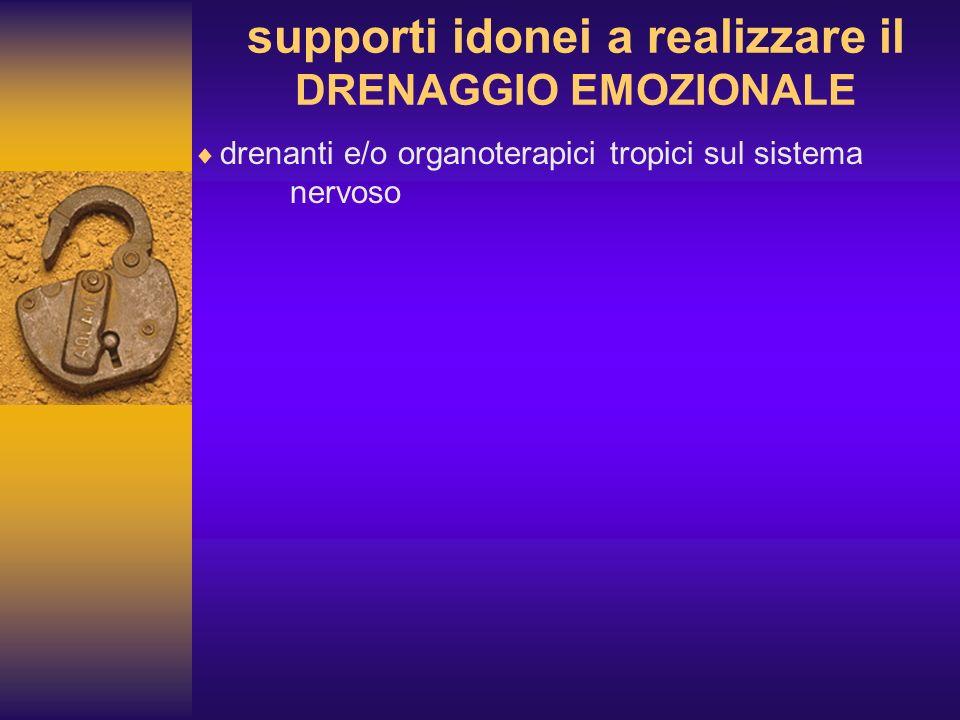 supporti idonei a realizzare il DRENAGGIO EMOZIONALE drenanti e/o organoterapici tropici sul sistema nervoso