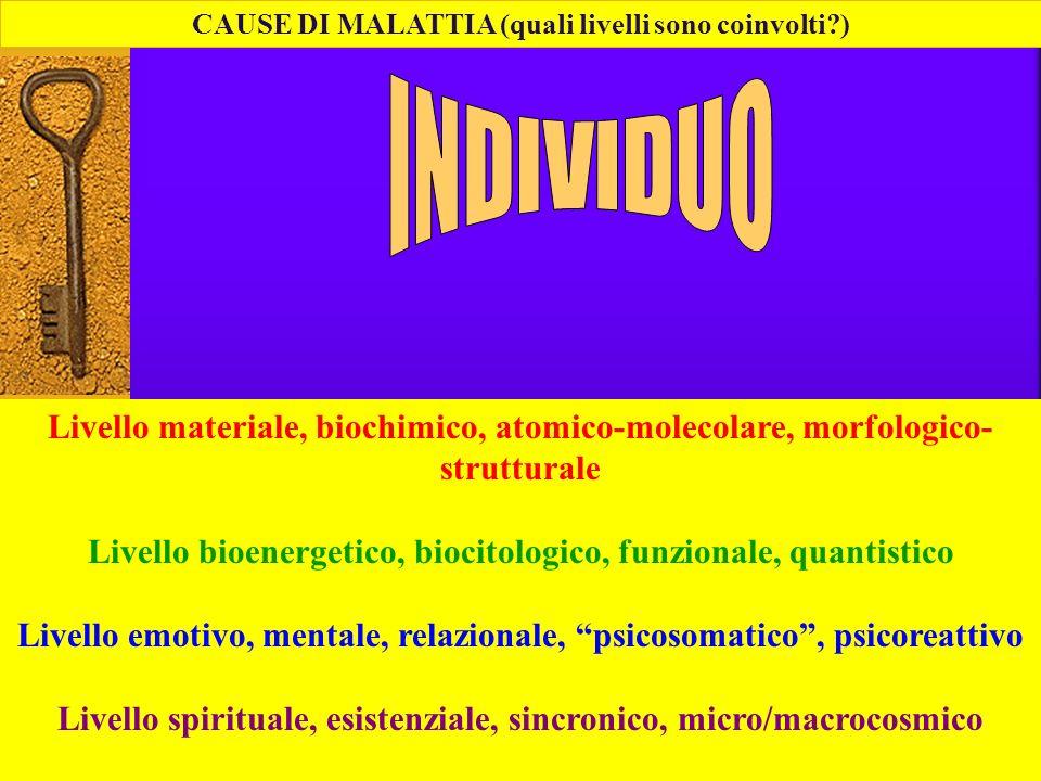 CAUSE DI MALATTIA (quali livelli sono coinvolti?) Livello materiale, biochimico, atomico-molecolare, morfologico- strutturale Livello bioenergetico, b