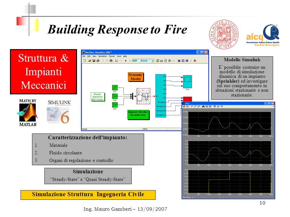 10 Building Response to Fire Ing. Mauro Gamberi – 13/09/2007 Struttura & Impianti Meccanici Caratterizzazione dellimpianto: 1.Materiale 2.Fluido circo