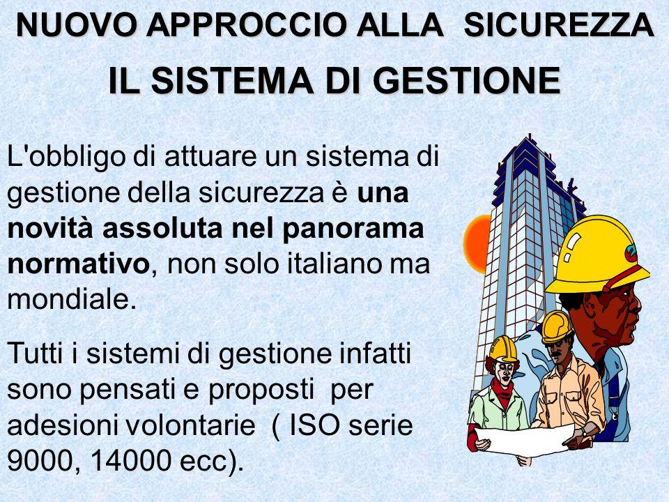 L obbligo di attuare un sistema di gestione della sicurezza è una novità assoluta nel panorama normativo, non solo italiano ma mondiale.