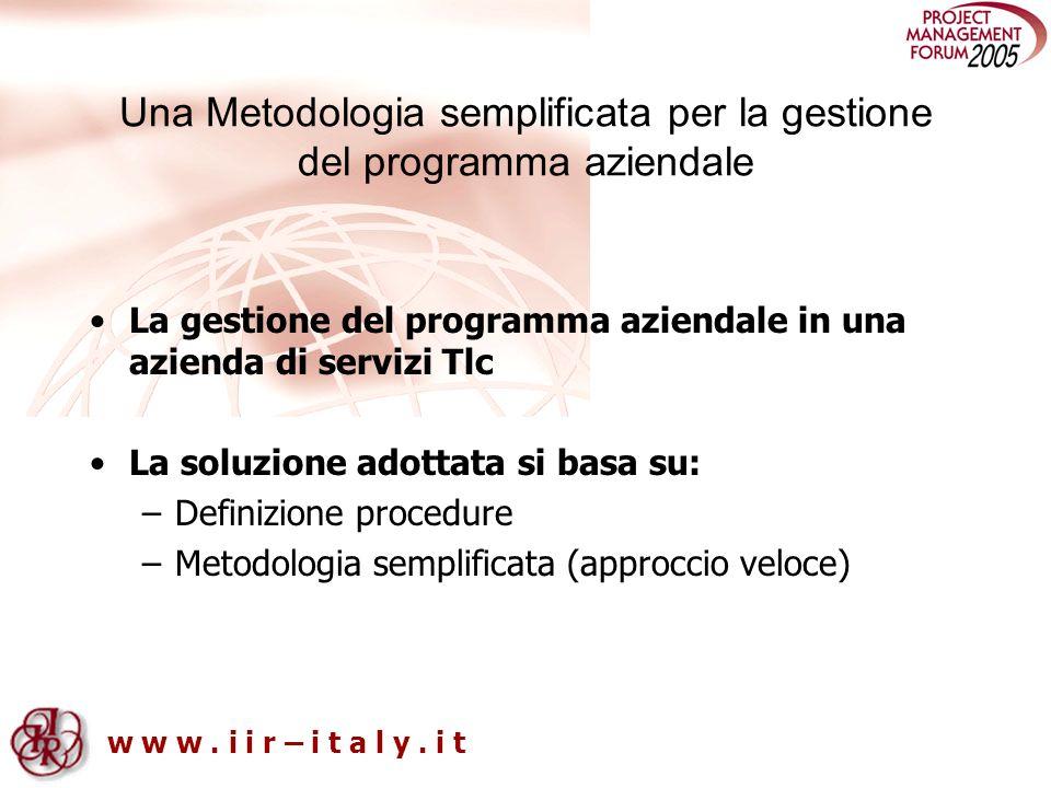 w w w. i i r – i t a l y. i t Una Metodologia semplificata per la gestione del programma aziendale La gestione del programma aziendale in una azienda