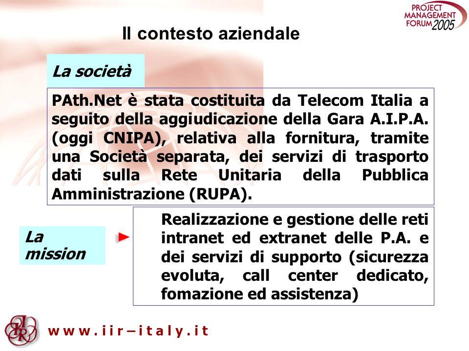 w w w. i i r – i t a l y. i t La mission Realizzazione e gestione delle reti intranet ed extranet delle P.A. e dei servizi di supporto (sicurezza evol