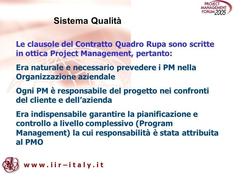 w w w. i i r – i t a l y. i t Sistema Qualità Le clausole del Contratto Quadro Rupa sono scritte in ottica Project Management, pertanto: Era naturale
