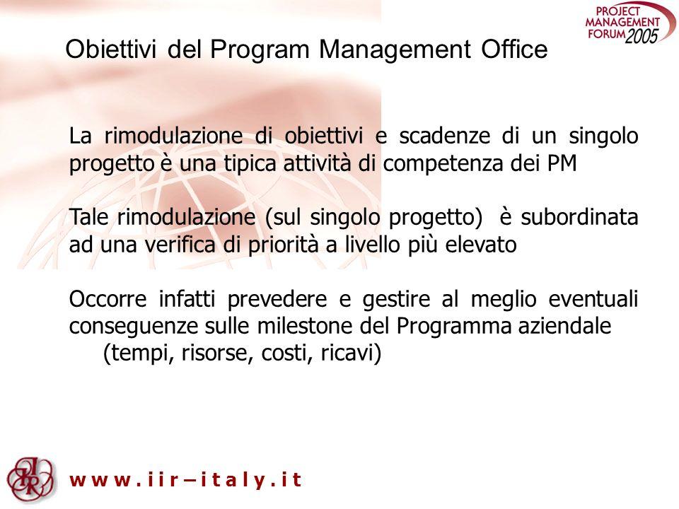 w w w. i i r – i t a l y. i t Obiettivi del Program Management Office La rimodulazione di obiettivi e scadenze di un singolo progetto è una tipica att