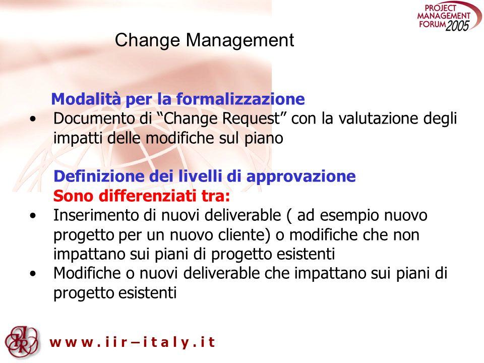 w w w. i i r – i t a l y. i t Modalità per la formalizzazione Documento di Change Request con la valutazione degli impatti delle modifiche sul piano D