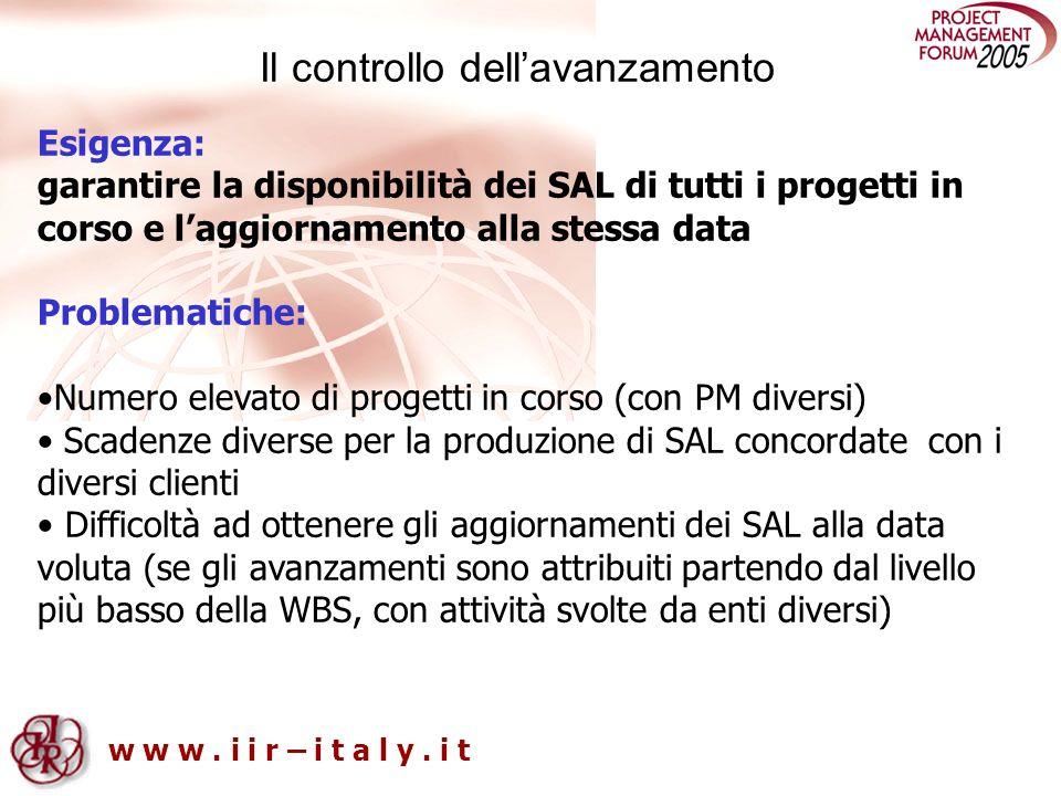 w w w. i i r – i t a l y. i t Il controllo dellavanzamento Esigenza: garantire la disponibilità dei SAL di tutti i progetti in corso e laggiornamento