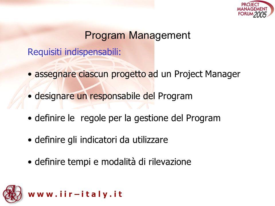 w w w. i i r – i t a l y. i t Program Management Requisiti indispensabili: assegnare ciascun progetto ad un Project Manager designare un responsabile