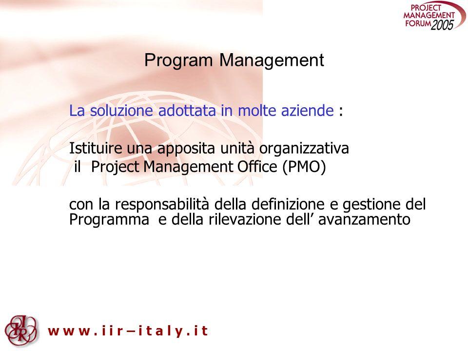 w w w. i i r – i t a l y. i t Program Management La soluzione adottata in molte aziende : Istituire una apposita unità organizzativa il Project Manage