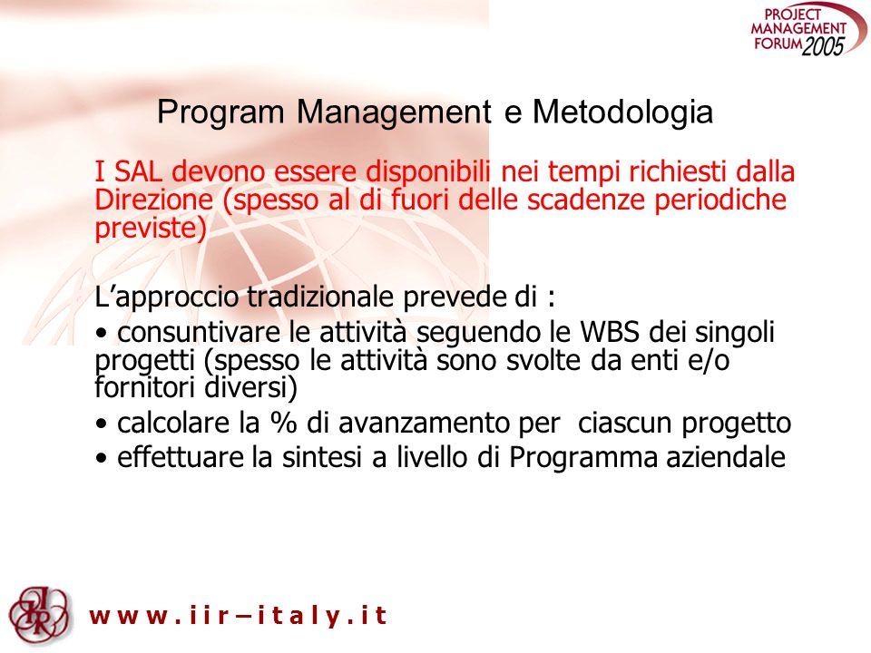 w w w. i i r – i t a l y. i t Program Management e Metodologia I SAL devono essere disponibili nei tempi richiesti dalla Direzione (spesso al di fuori