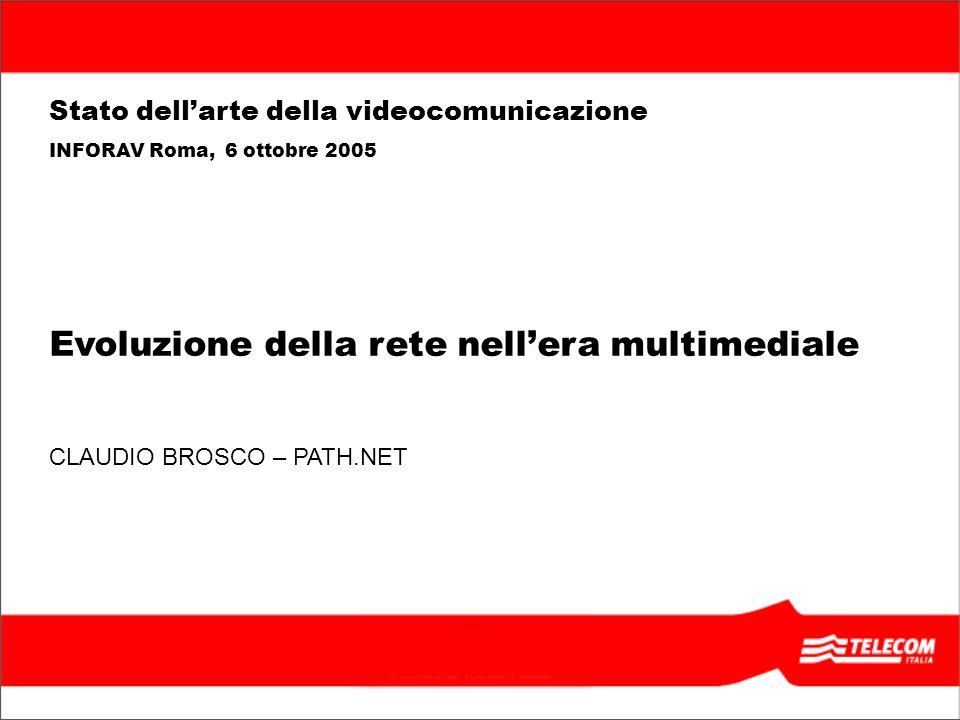 22 TITOLO PRESENTAZIONE, ALLINEATO IN BASSO E A DESTRA, MASSIMO 2 RIGHE Evoluzione della rete nellera multimediale CLAUDIO BROSCO – PATH.NET Stato dellarte della videocomunicazione INFORAV Roma, 6 ottobre 2005 I Layer di accesso e di servizio OLO/ISP (ADSL wholesale) OPTICAL ACCESS Extended LAN Extended LAN DTC OPB MULTISERVICE EDGE STORAGE BRAS MGW BACKBONE ADSL/ SDSL access DSL ACCESS ATM Gigabit Ethernet IP Access Router/ PE PC AP 1AP 2AP 3AP n Local Application server Access Gateway WIFI ACCESS Business Home Application server PSTN SIP