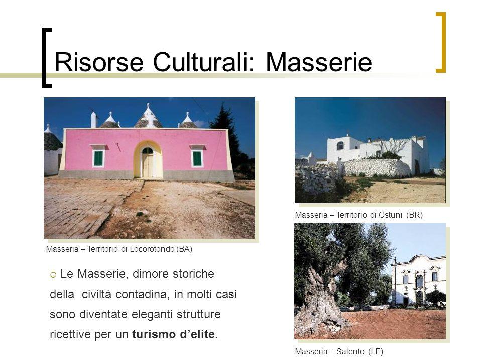Risorse Culturali: Masserie Masseria – Territorio di Locorotondo (BA) Masseria – Salento (LE) Masseria – Territorio di Ostuni (BR) Le Masserie, dimore