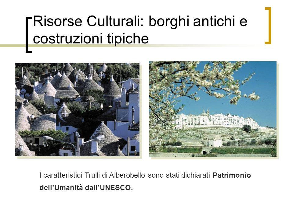 Risorse Culturali: borghi antichi e costruzioni tipiche I caratteristici Trulli di Alberobello sono stati dichiarati Patrimonio dellUmanità dallUNESCO