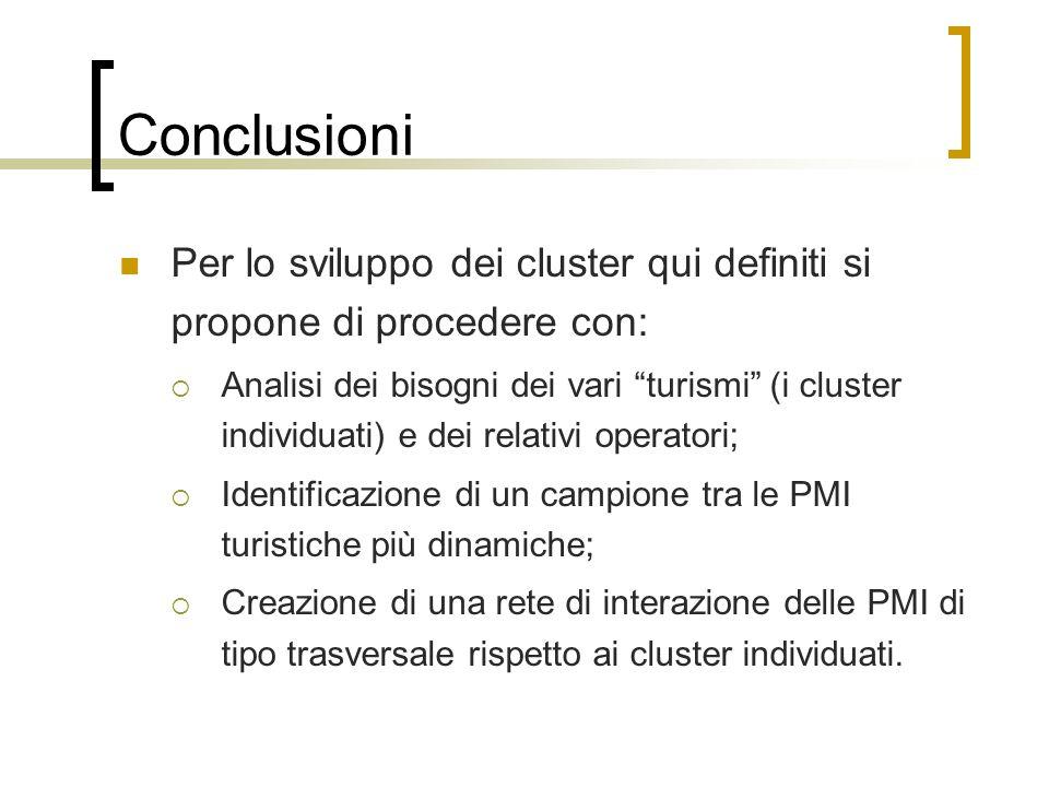 Conclusioni Per lo sviluppo dei cluster qui definiti si propone di procedere con: Analisi dei bisogni dei vari turismi (i cluster individuati) e dei r