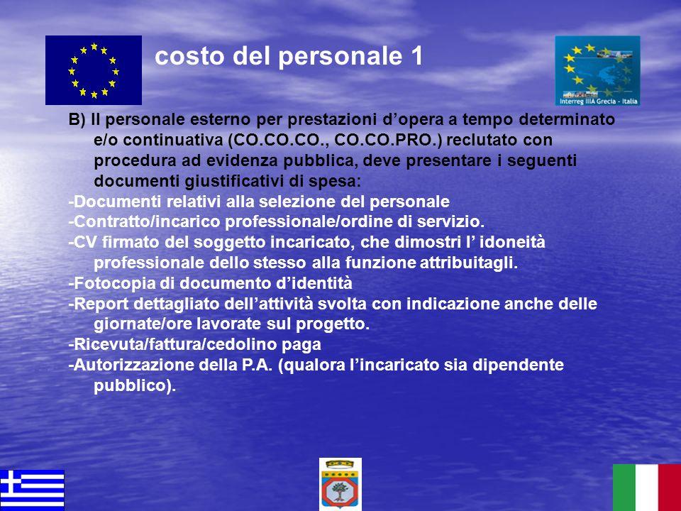 B) Il personale esterno per prestazioni dopera a tempo determinato e/o continuativa (CO.CO.CO., CO.CO.PRO.) reclutato con procedura ad evidenza pubbli