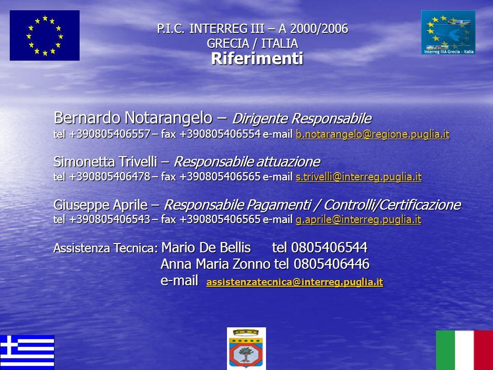P.I.C. INTERREG III – A 2000/2006 GRECIA / ITALIA Riferimenti Bernardo Notarangelo – Dirigente Responsabile tel +390805406557 – fax +390805406554 e-ma
