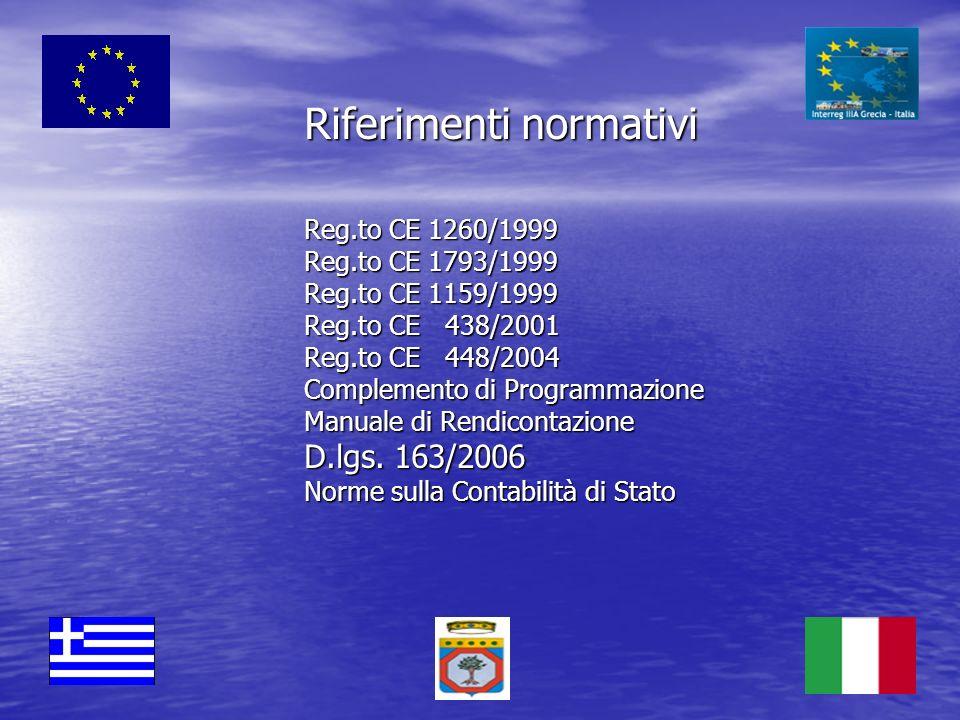 Riferimenti normativi Reg.to CE 1260/1999 Reg.to CE 1793/1999 Reg.to CE 1159/1999 Reg.to CE 438/2001 Reg.to CE 448/2004 Complemento di Programmazione