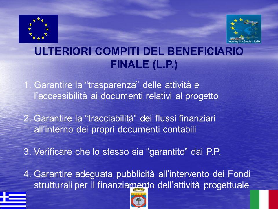 ULTERIORI COMPITI DEL BENEFICIARIO FINALE (L.P.) 1.Garantire la trasparenza delle attività e laccessibilità ai documenti relativi al progetto 2. Garan