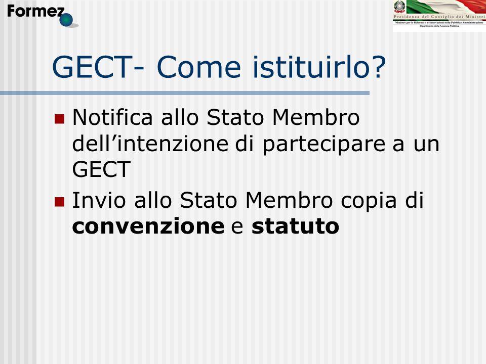 GECT- Come istituirlo? Notifica allo Stato Membro dellintenzione di partecipare a un GECT Invio allo Stato Membro copia di convenzione e statuto