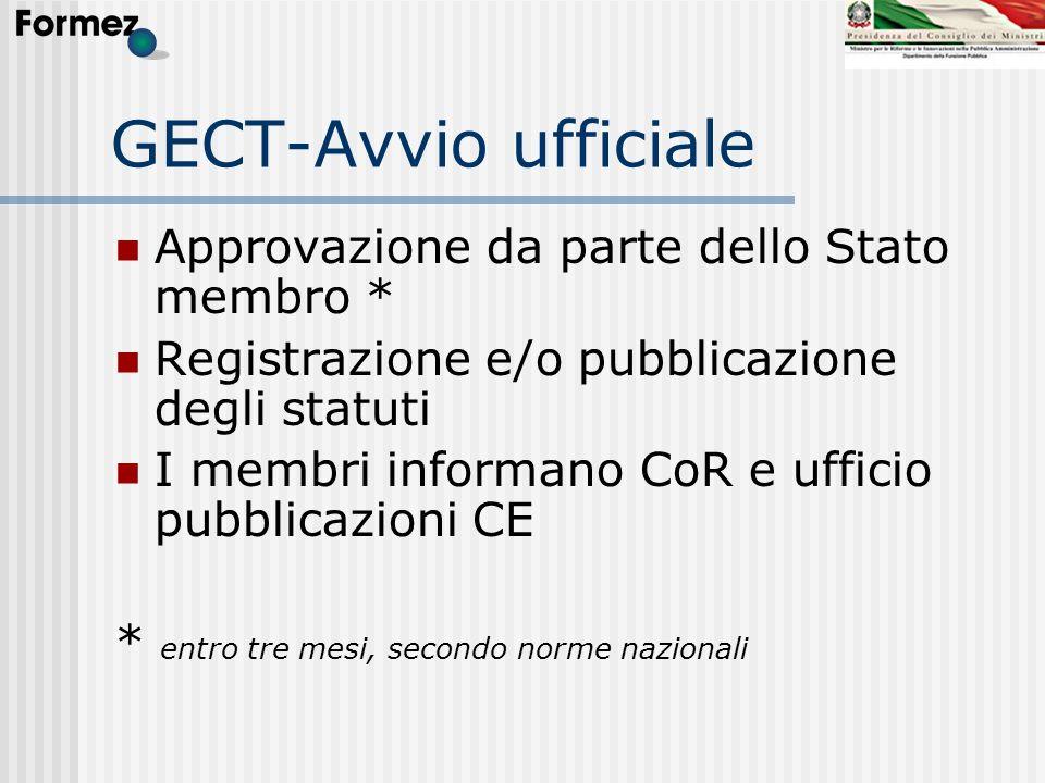 GECT-Avvio ufficiale Approvazione da parte dello Stato membro * Registrazione e/o pubblicazione degli statuti I membri informano CoR e ufficio pubblic
