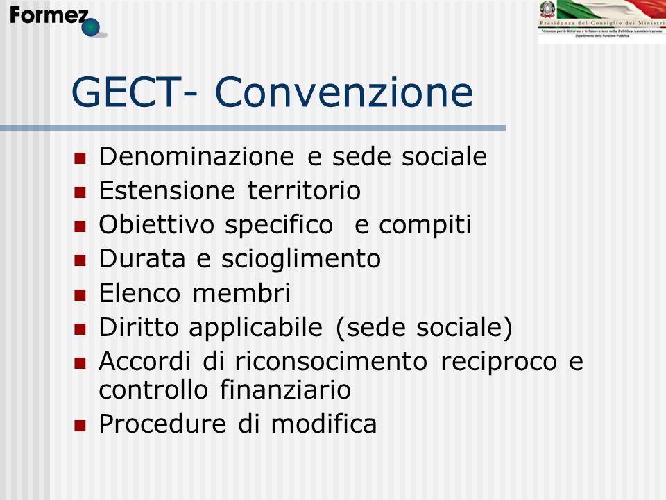 GECT- Convenzione Denominazione e sede sociale Estensione territorio Obiettivo specifico e compiti Durata e scioglimento Elenco membri Diritto applica