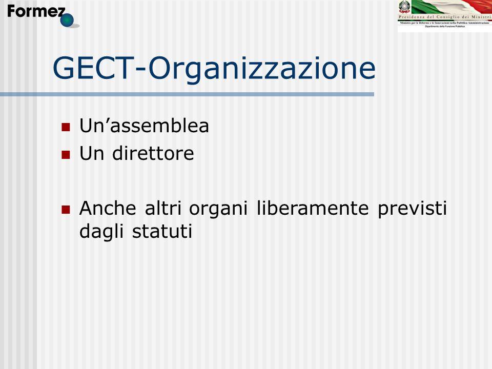 GECT-Organizzazione Unassemblea Un direttore Anche altri organi liberamente previsti dagli statuti