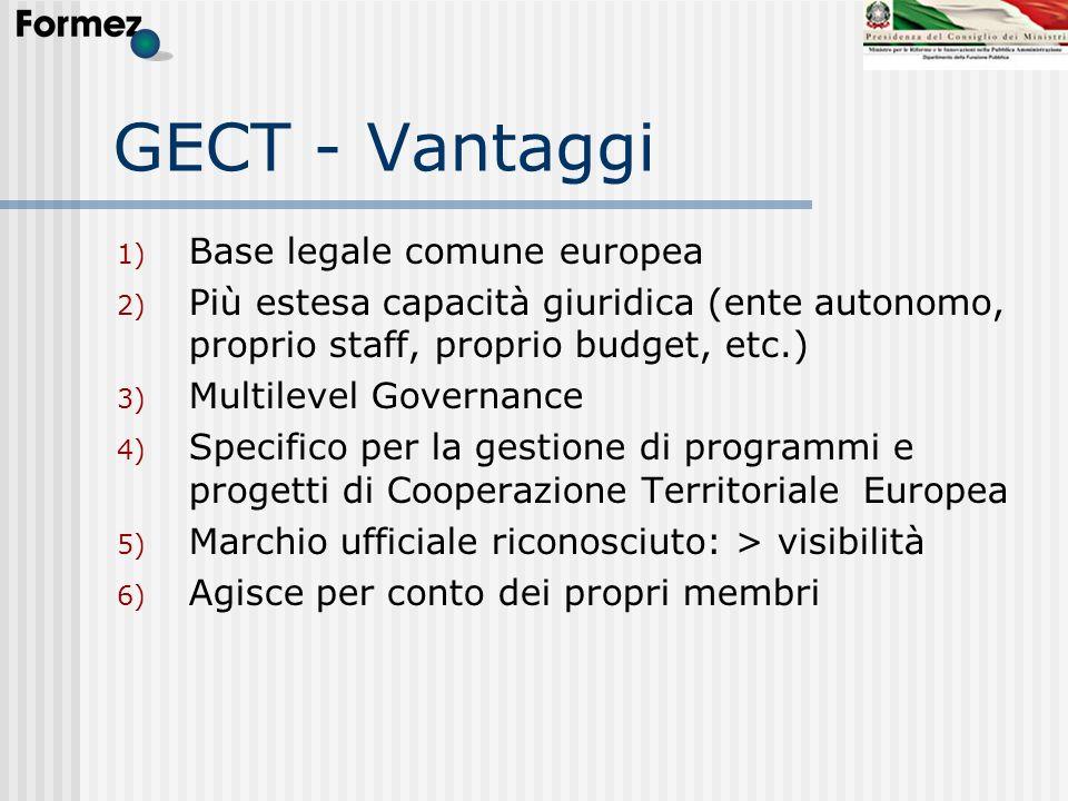 GECT - Vantaggi 1) Base legale comune europea 2) Più estesa capacità giuridica (ente autonomo, proprio staff, proprio budget, etc.) 3) Multilevel Gove