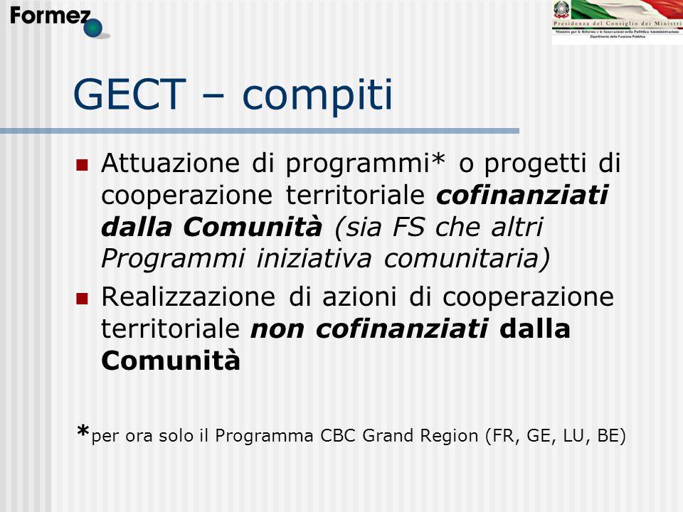 GECT – compiti Attuazione di programmi* o progetti di cooperazione territoriale cofinanziati dalla Comunità (sia FS che altri Programmi iniziativa com