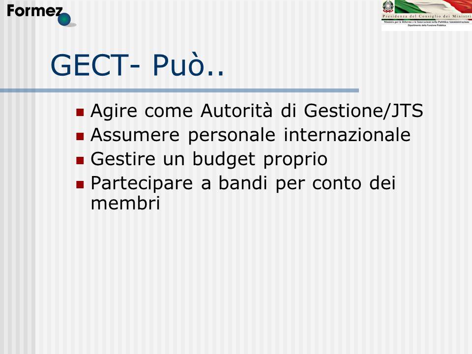 GECT- Può.. Agire come Autorità di Gestione/JTS Assumere personale internazionale Gestire un budget proprio Partecipare a bandi per conto dei membri