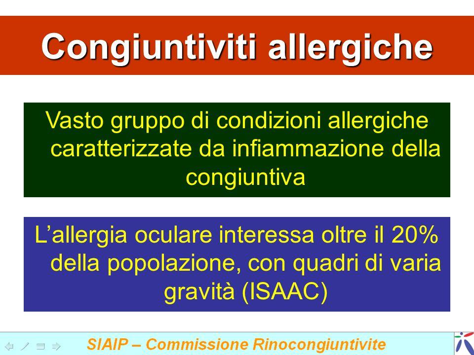 Congiuntiviti allergiche Vasto gruppo di condizioni allergiche caratterizzate da infiammazione della congiuntiva Lallergia oculare interessa oltre il 20% della popolazione, con quadri di varia gravità (ISAAC)