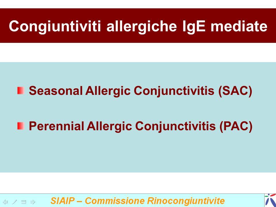 Congiuntiviti allergiche IgE mediate Seasonal Allergic Conjunctivitis (SAC) Perennial Allergic Conjunctivitis (PAC)