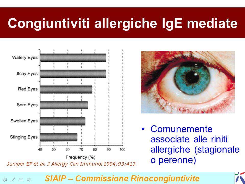 Congiuntiviti allergiche IgE mediate Comunemente associate alle riniti allergiche (stagionale o perenne) Juniper EF et al. J Allergy Clin Immunol 1994
