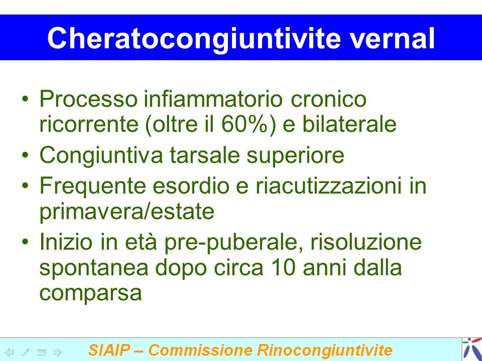 Cheratocongiuntivite vernal Processo infiammatorio cronico ricorrente (oltre il 60%) e bilaterale Congiuntiva tarsale superiore Frequente esordio e riacutizzazioni in primavera/estate Inizio in età pre-puberale, risoluzione spontanea dopo circa 10 anni dalla comparsa
