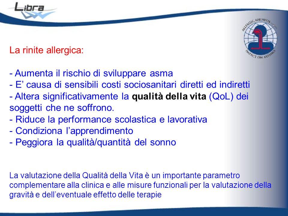 La rinite allergica: - Aumenta il rischio di sviluppare asma - E causa di sensibili costi sociosanitari diretti ed indiretti - Altera significativamen