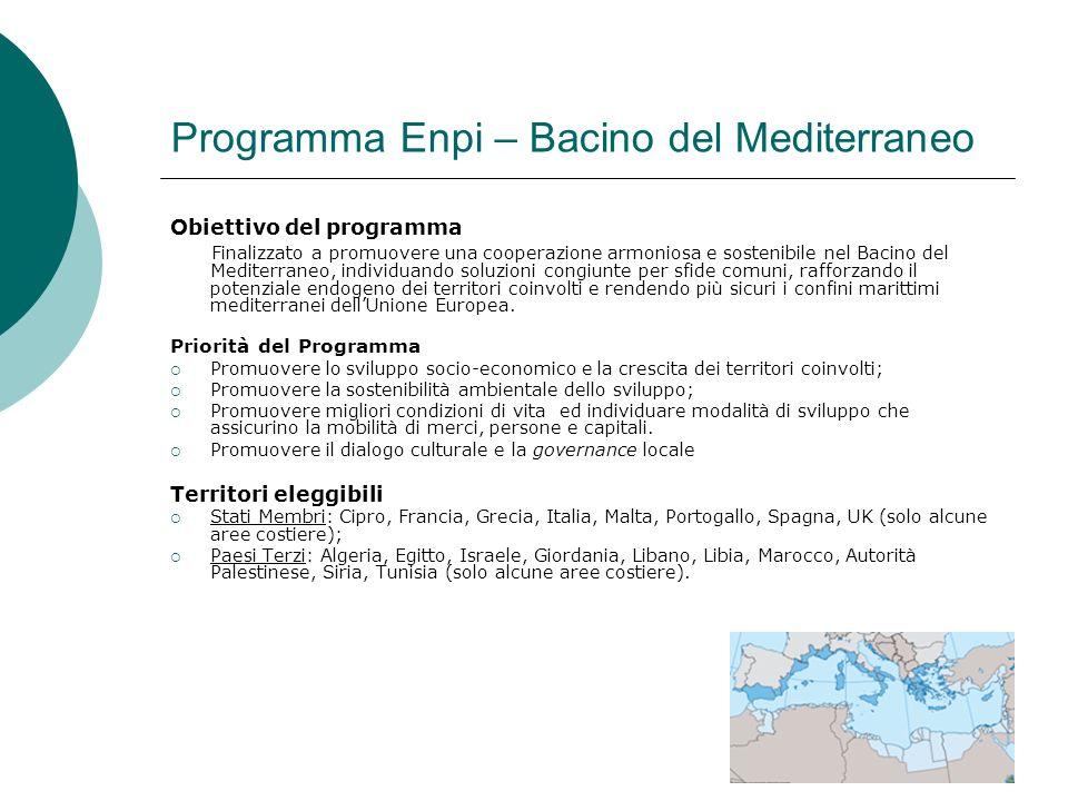 11 Programma Enpi – Bacino del Mediterraneo Obiettivo del programma Finalizzato a promuovere una cooperazione armoniosa e sostenibile nel Bacino del Mediterraneo, individuando soluzioni congiunte per sfide comuni, rafforzando il potenziale endogeno dei territori coinvolti e rendendo più sicuri i confini marittimi mediterranei dellUnione Europea.