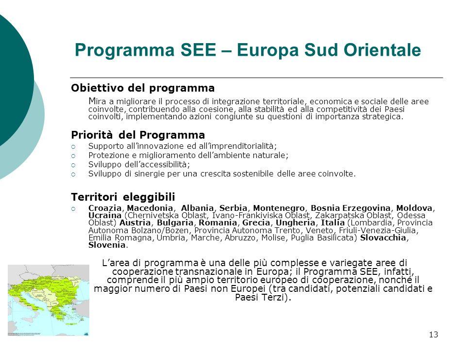 13 Programma SEE – Europa Sud Orientale Obiettivo del programma M ira a migliorare il processo di integrazione territoriale, economica e sociale delle aree coinvolte, contribuendo alla coesione, alla stabilità ed alla competitività dei Paesi coinvolti, implementando azioni congiunte su questioni di importanza strategica.