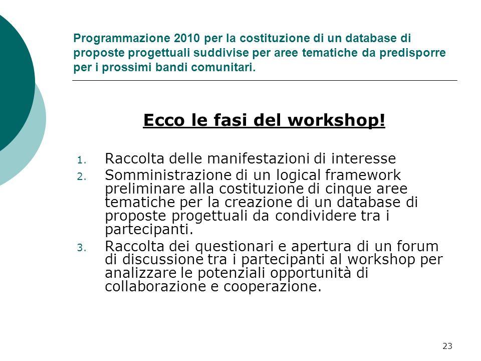 23 Programmazione 2010 per la costituzione di un database di proposte progettuali suddivise per aree tematiche da predisporre per i prossimi bandi comunitari.
