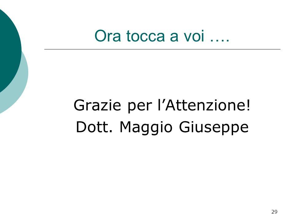 29 Ora tocca a voi …. Grazie per lAttenzione! Dott. Maggio Giuseppe