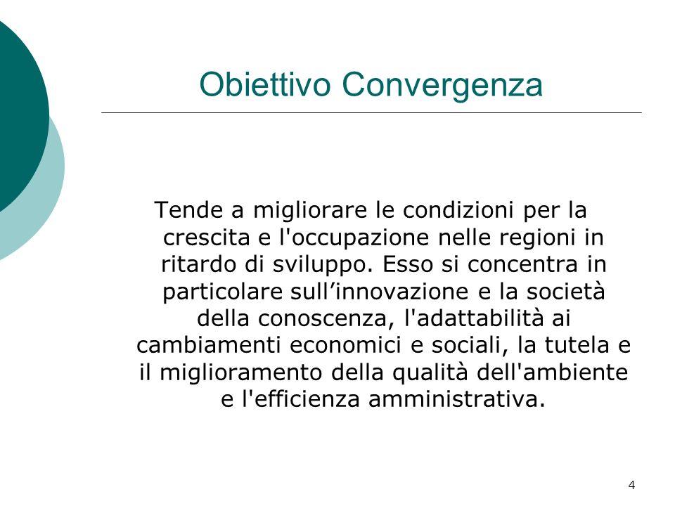 4 Obiettivo Convergenza Tende a migliorare le condizioni per la crescita e l occupazione nelle regioni in ritardo di sviluppo.