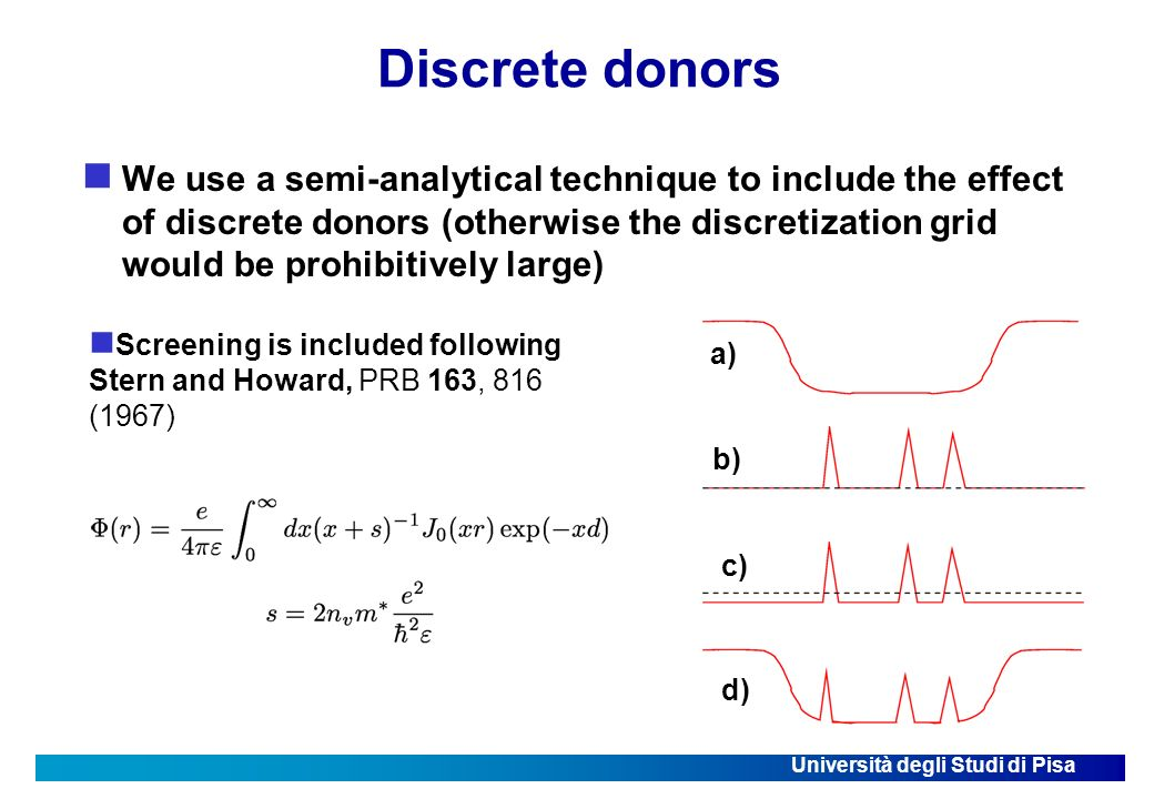 Università degli Studi di Pisa Discrete donors We use a semi-analytical technique to include the effect of discrete donors (otherwise the discretization grid would be prohibitively large) a) b) c) d) Screening is included following Stern and Howard, PRB 163, 816 (1967)