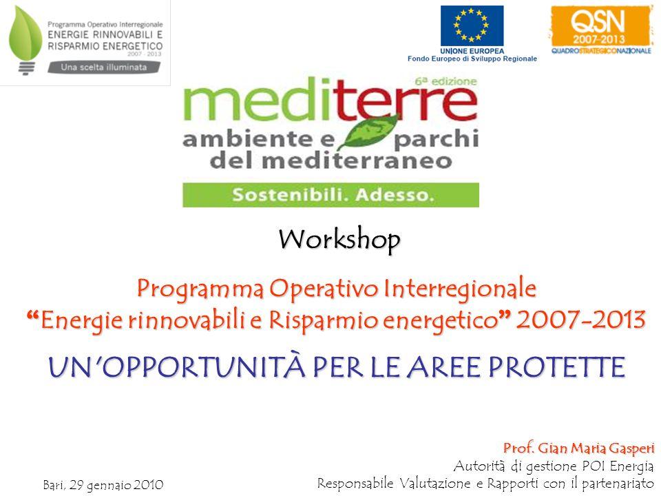 Programma Operativo Interregionale Energie rinnovabili e Risparmio energetico 2007-2013 Energie rinnovabili e Risparmio energetico 2007-2013 UN OPPORTUNITÀ PER LE AREE PROTETTE Prof.