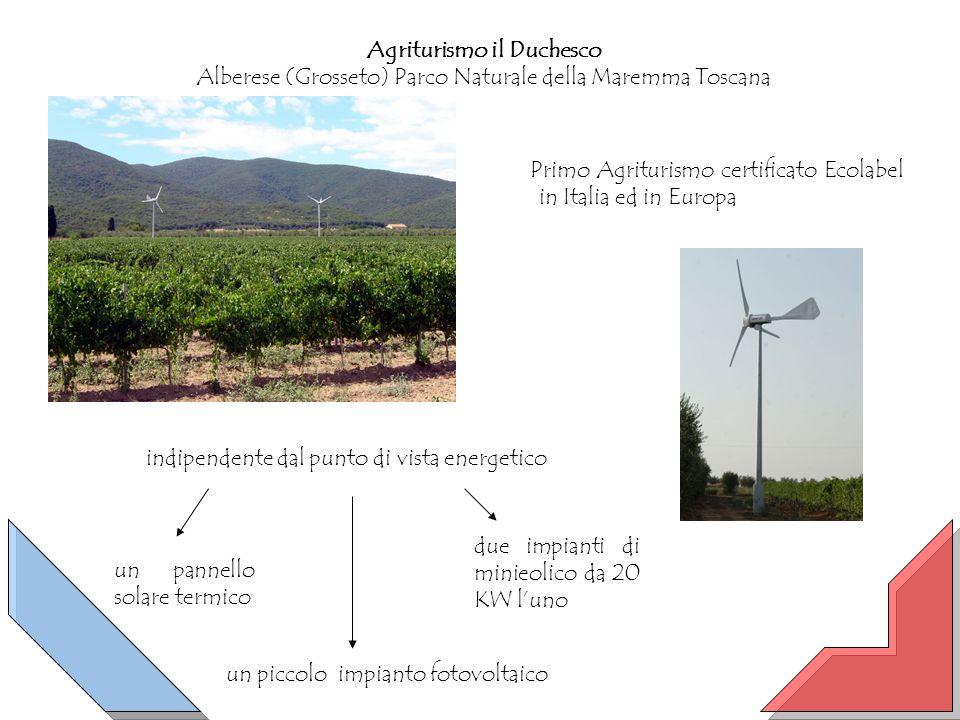Agriturismo il Duchesco Alberese (Grosseto) Parco Naturale della Maremma Toscana Primo Agriturismo certificato Ecolabel in Italia ed in Europa indipendente dal punto di vista energetico un piccolo impianto fotovoltaico un pannello solare termico due impianti di minieolico da 20 KW luno