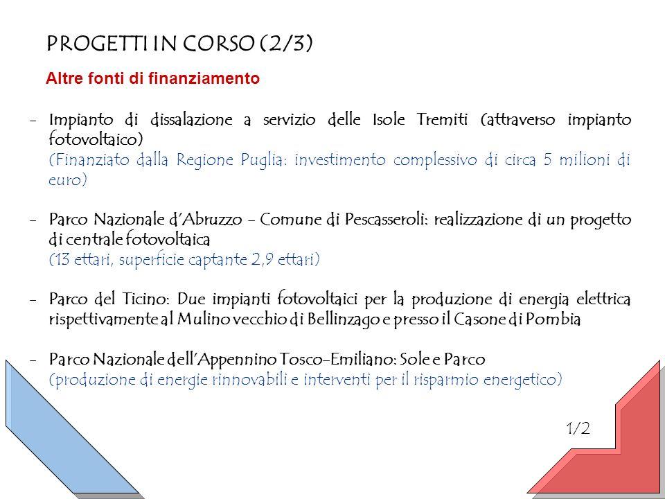 PROGETTI IN CORSO (2/3) Altre fonti di finanziamento -Impianto di dissalazione a servizio delle Isole Tremiti (attraverso impianto fotovoltaico) (Finanziato dalla Regione Puglia: investimento complessivo di circa 5 milioni di euro) -Parco Nazionale dAbruzzo - Comune di Pescasseroli: realizzazione di un progetto di centrale fotovoltaica (13 ettari, superficie captante 2,9 ettari) -Parco del Ticino: Due impianti fotovoltaici per la produzione di energia elettrica rispettivamente al Mulino vecchio di Bellinzago e presso il Casone di Pombia -Parco Nazionale dellAppennino Tosco-Emiliano: Sole e Parco (produzione di energie rinnovabili e interventi per il risparmio energetico) 1/2