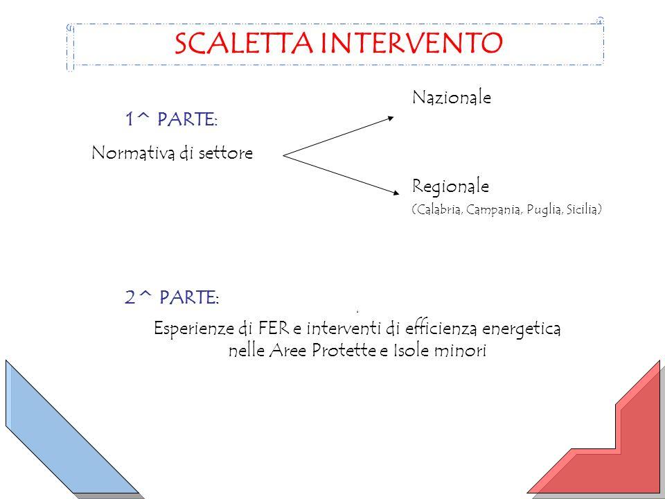 1^ PARTE: Normativa di settore SCALETTA INTERVENTO Nazionale Regionale (Calabria, Campania, Puglia, Sicilia) 2^ PARTE: 6 Esperienze di FER e interventi di efficienza energetica nelle Aree Protette e Isole minori