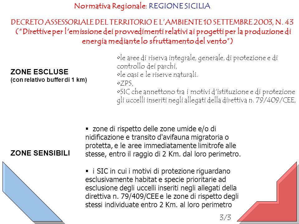 Normativa Regionale: REGIONE SICILIA DECRETO ASSESSORIALE DEL TERRITORIO E LAMBIENTE 10 SETTEMBRE 2003, N. 43 (Direttive per l'emissione dei provvedim