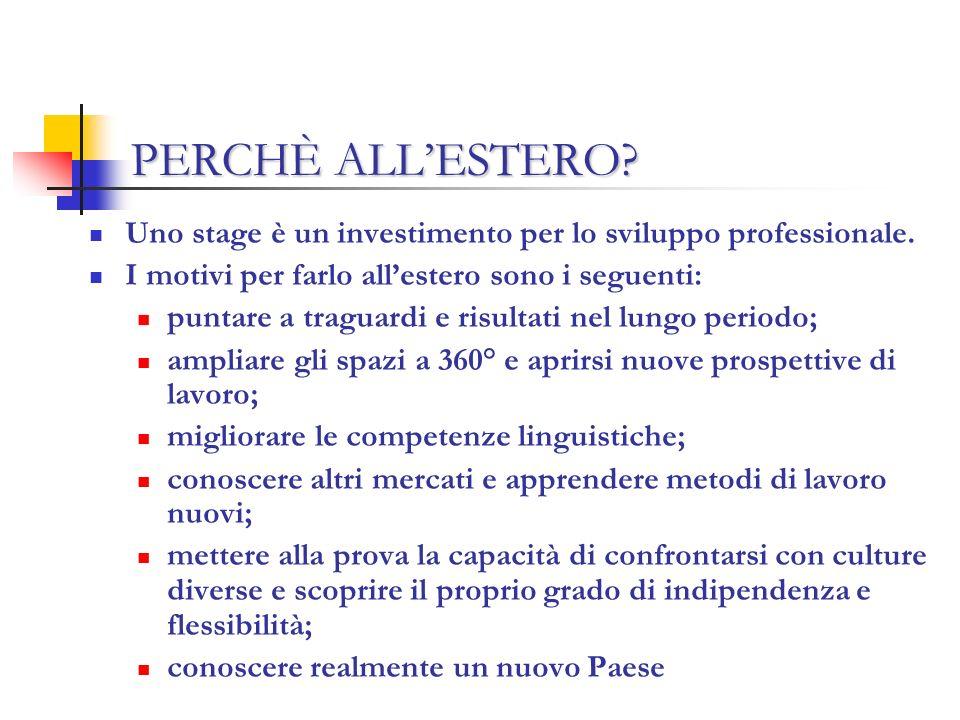 PERCHÈ ALLESTERO. Uno stage è un investimento per lo sviluppo professionale.