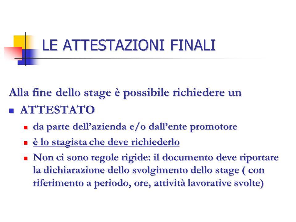 LE ATTESTAZIONI FINALI Alla fine dello stage è possibile richiedere un ATTESTATO ATTESTATO da parte dellazienda e/o dallente promotore da parte dellaz