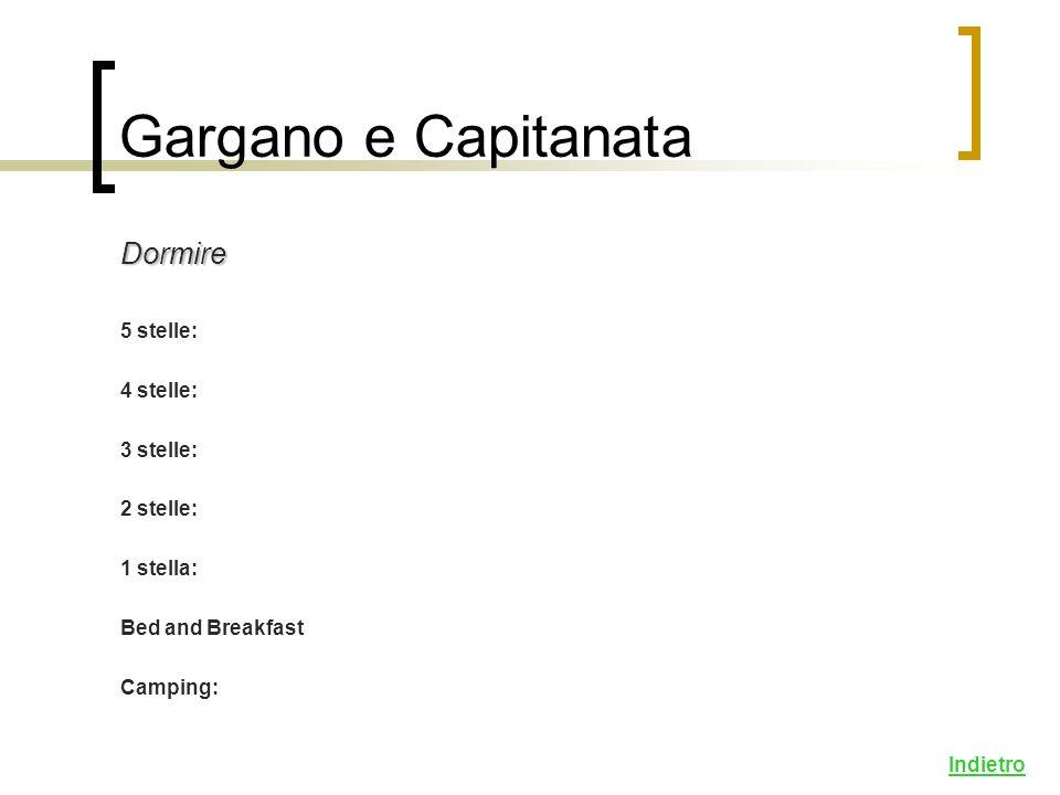 Dormire 5 stelle: 4 stelle: 3 stelle: 2 stelle: 1 stella: Bed and Breakfast Camping: Indietro Gargano e Capitanata