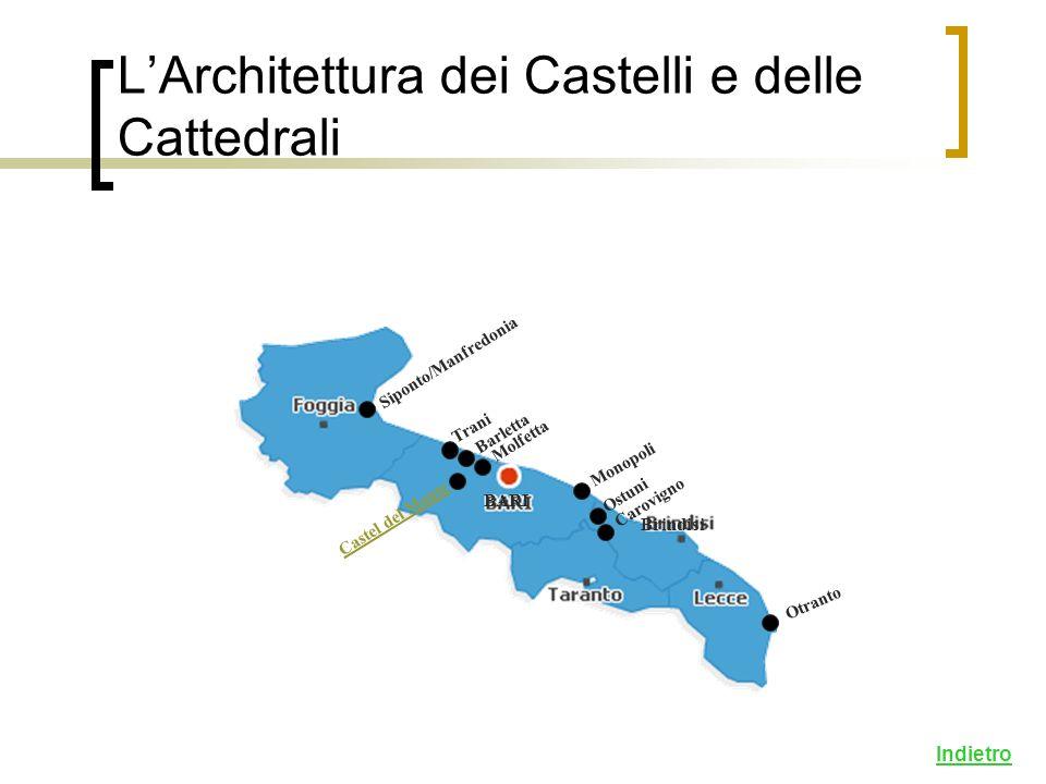 LArchitettura dei Castelli e delle Cattedrali Siponto/Manfredonia Trani Monopoli Barletta Otranto Carovigno Indietro Castel del Monte Molfetta BARI Brindisi Ostuni